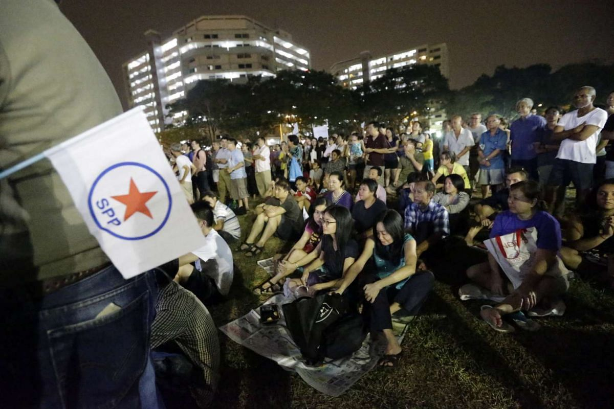 Supporters cheering during the Singapore People's Party rally for the Potong Pasir SMC held at Potong Pasir Avenue 1 on Sept 8, 2015.