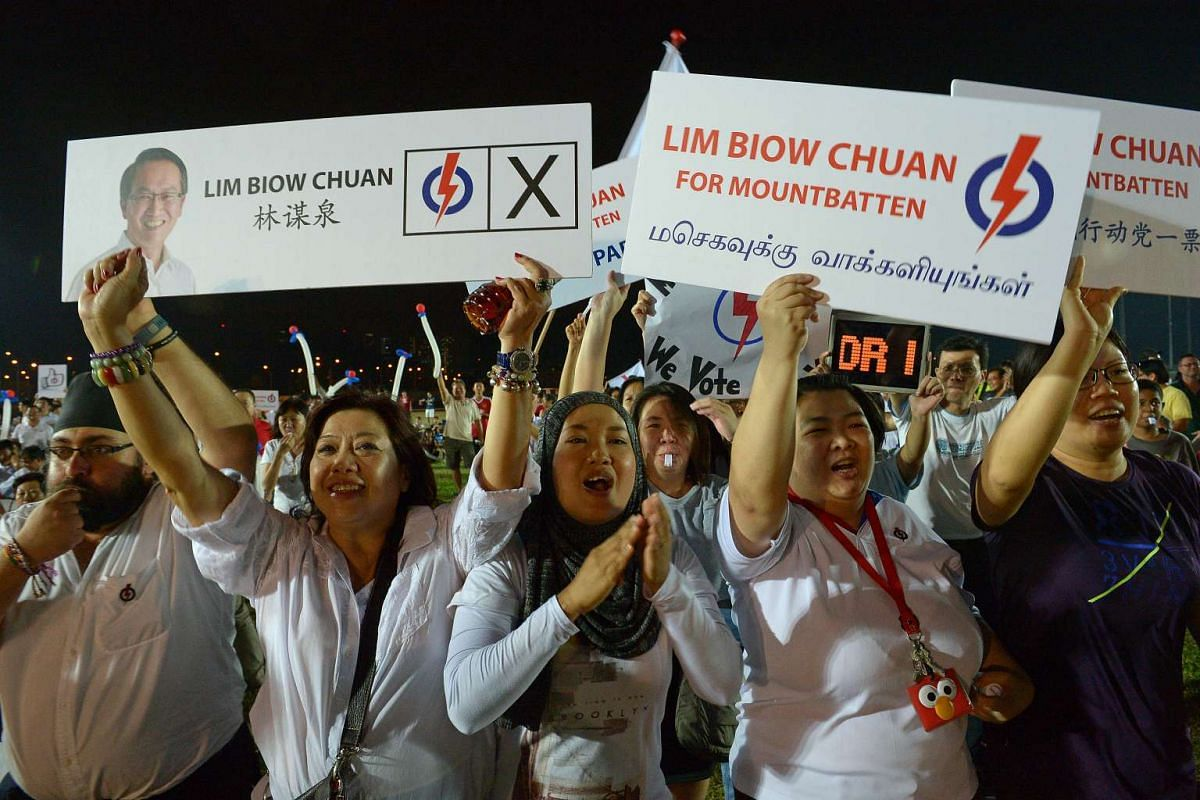 Supporters of PAP candidate Lim Biow Chuan at a rally for Mountbatten SMC on Sept 8, 2015.