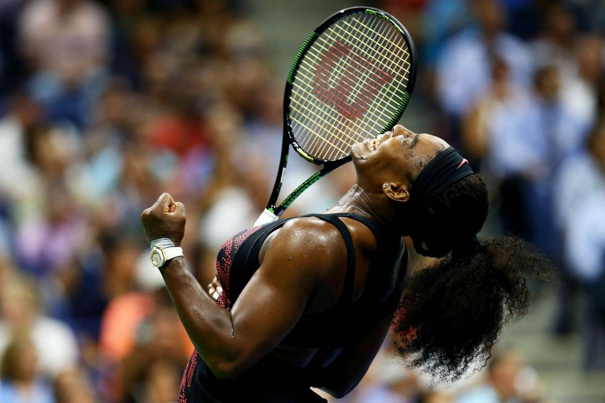 Serena Williams of the United States celebrates after defeating her sister Venus Williams in their Women's Singles Quarterfinals match of the 2015 US Open on Sept 8, 2015. PHOTO: GETTY IMAGES/AFP/ALESSANDRA DEL BENE