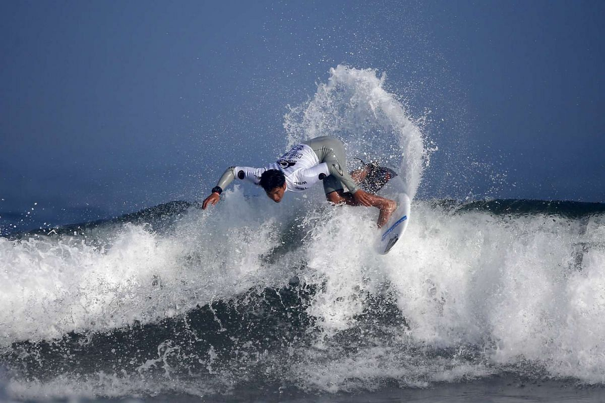 French Polynesian O'Neill Massin riding the wave at Casablanca Beach, also known as the Pepsi spot, during the World Surf League's (WSL) Quiksilver Pro surfing competition in Casablanca, Morocco, on Sept 10, 2015. PHOTO: REUTERS/YOUSSEF BOUDLAL