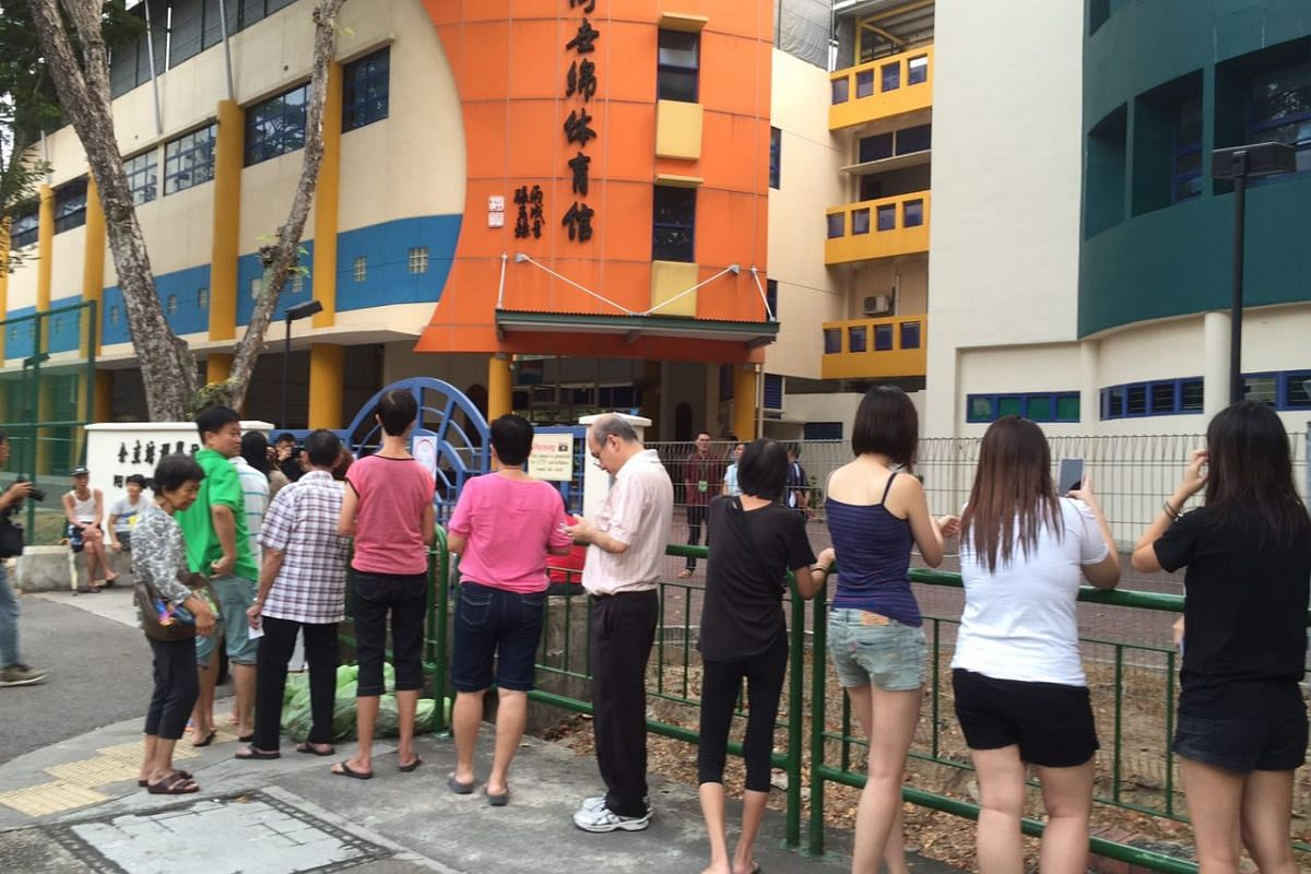 Early voters on Polling Day at Pei Chun Public School in Lorong 7, Toa Payoh.