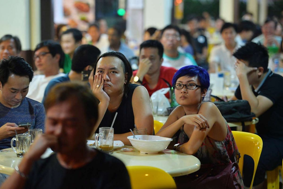 Supporters of the Singapore People's Party at a coffee shop in Potong Pasir. SPP's Lina Chiam failed to wrest back the ward from PAP's Sitoh Yih Pin.