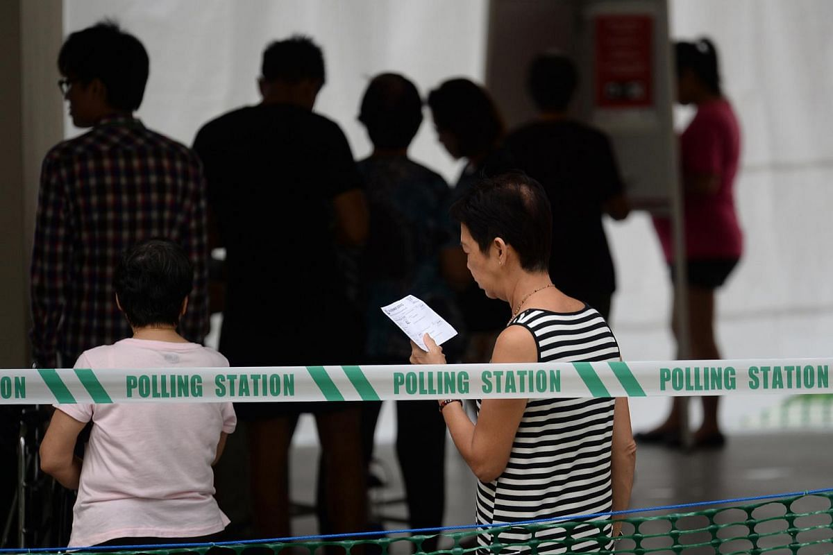 People heading out to polling stations at Clementi Street 13 to cast their votes on Sept 11, 2015.