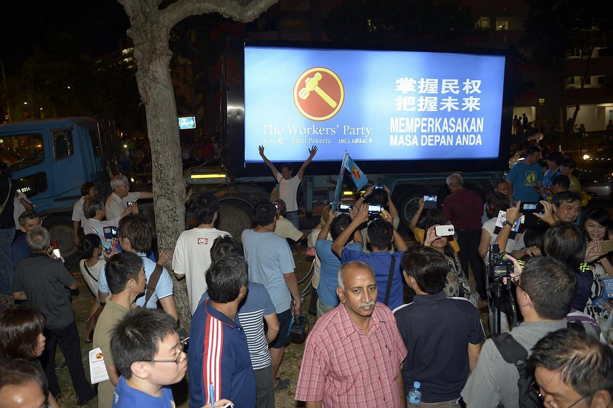 The Workers' Party's 'Optimus Prime' truck in Simei after the party's rally on Sept 6, 2015.