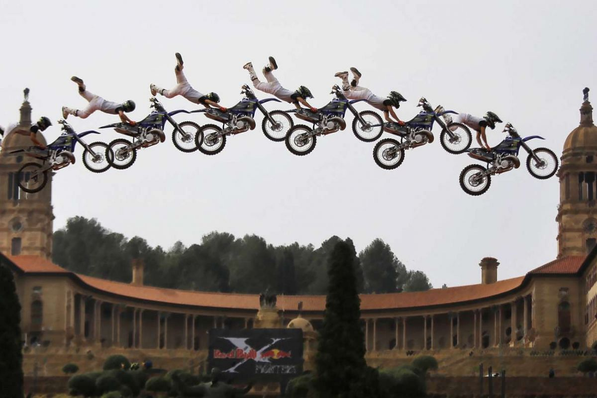 A multiple exposure image of Japanese rider Taka Higashino performing a trick during the Redbull X Fighters at the Union Buildings in Pretoria, South Africa.