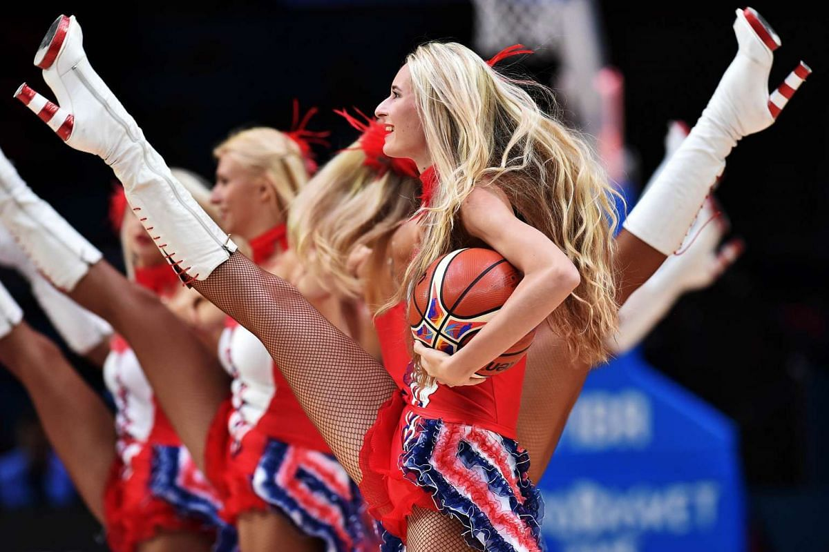 Dancers performing during a basketball match between Serbia and Finland at EuroBasket 2015 in Lille, northern France, on Sept 13, 2015.