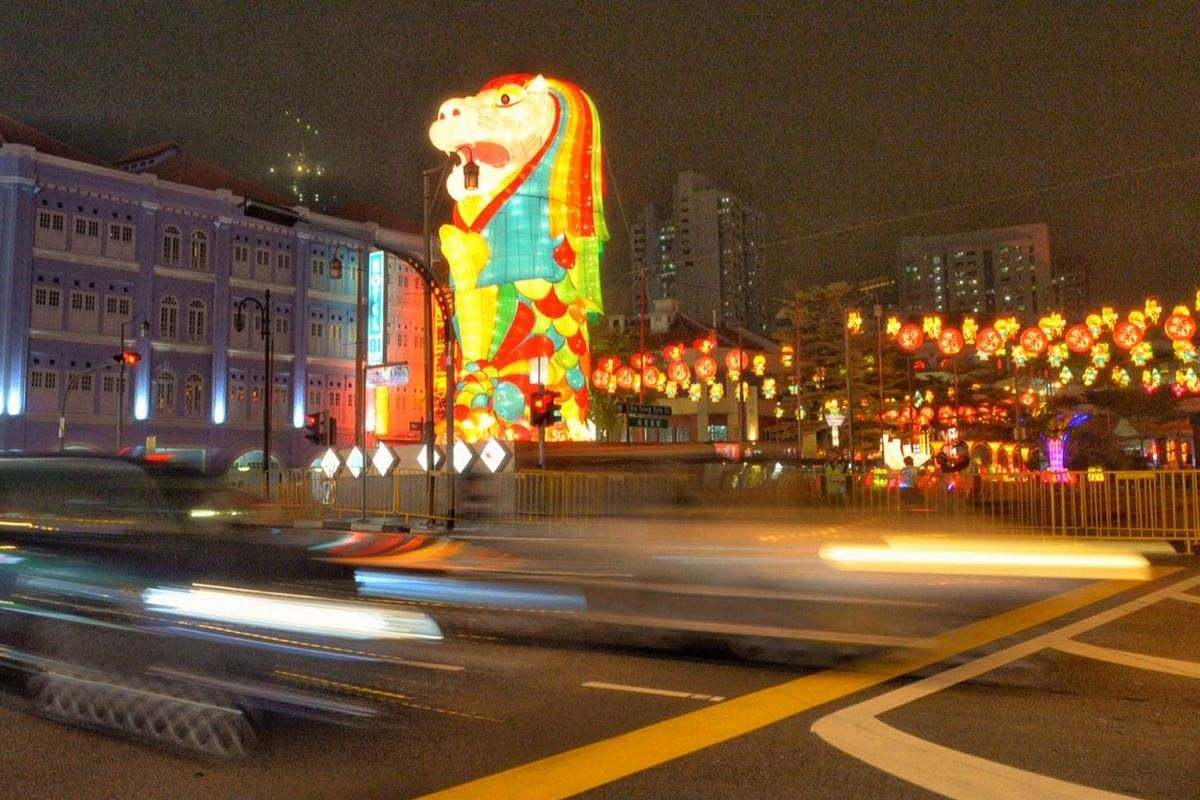 A total of 2,300 lanterns lined the streets of Chinatown for the annual light-up. The centrepiece is a 12m-tall Merlion lantern, facing Upper Cross Street, which is designed by Nanyang Academy of Fine Arts students and produced by a team of craftsmen