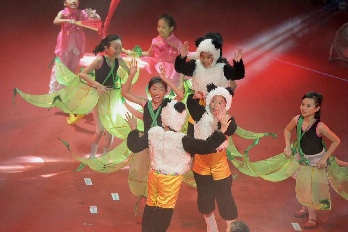 Young students, aged between seven and 16, performing the opening act A Golden Jubilee Mid-Autumn Festival. The street performances featured landmarks such as the iconic old Toa Payoh playground as well as campaign mascots like Singa the Courtesy Lio