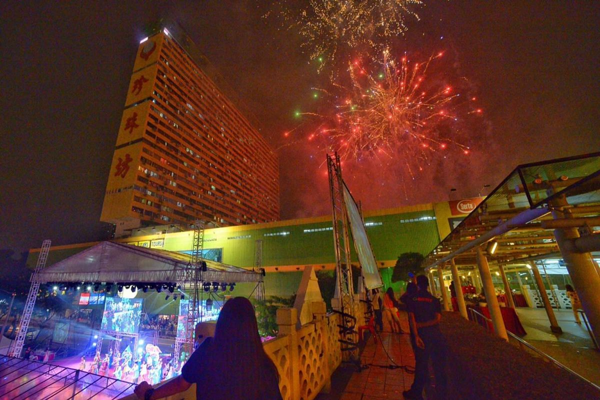 Fireworks light up the skies above Chinatown at the launch of the Mid-Autumn Festival light-up and opening ceremony on Sunday.