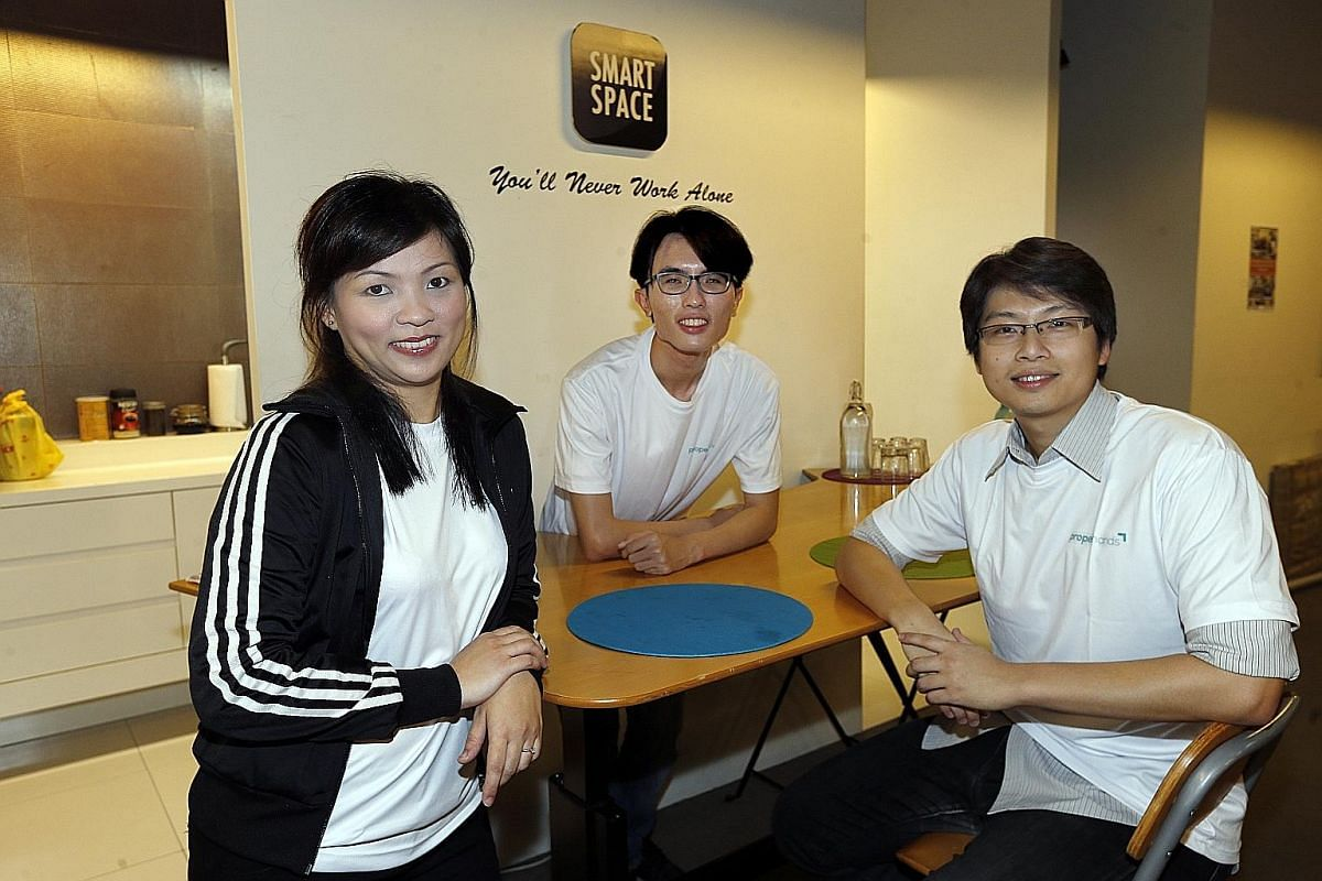 ProperHands co-founder and CEO Wayne Soh (right) with operations manager Karen Yong and operating and marketing executive Chua Kuixiang. The company hopes to break into other markets such as Taiwan, Hong Kong, Japan and South Korea.