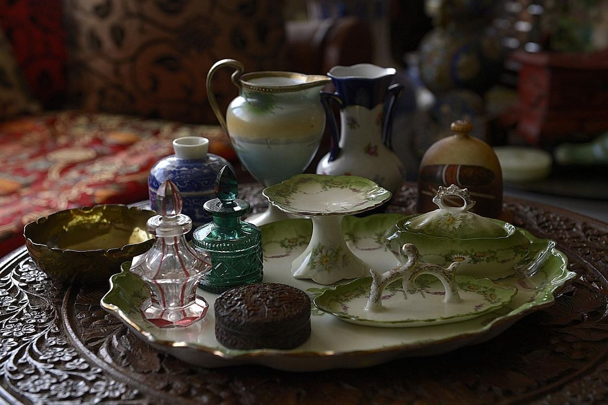 This set of antique containers for the vanity table was left to Madam Loretta Sarkies by her father, Mr Arathoon Sarkies. While few among these items are of Armenian origin, they take pride of place in Madam Sarkies' home.