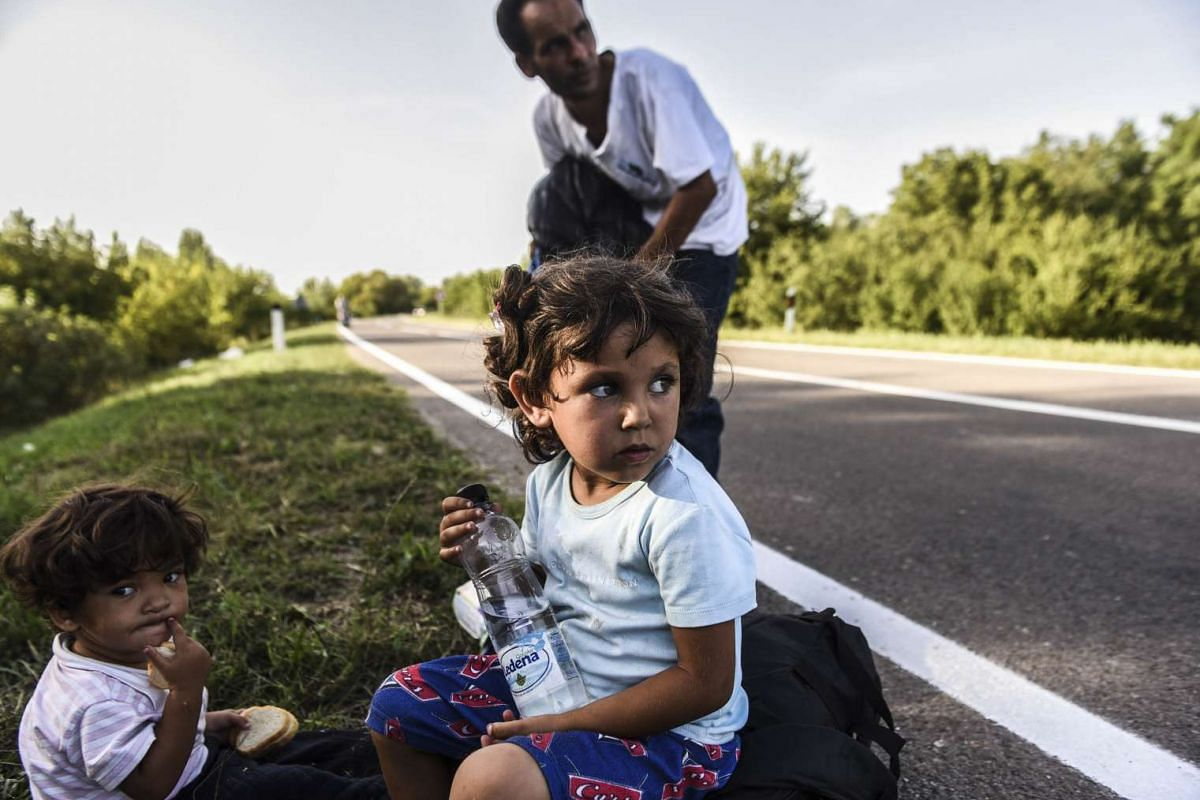 Refugees resting on their way towards the Croatia-Serbia border on Sept 17, 2015.