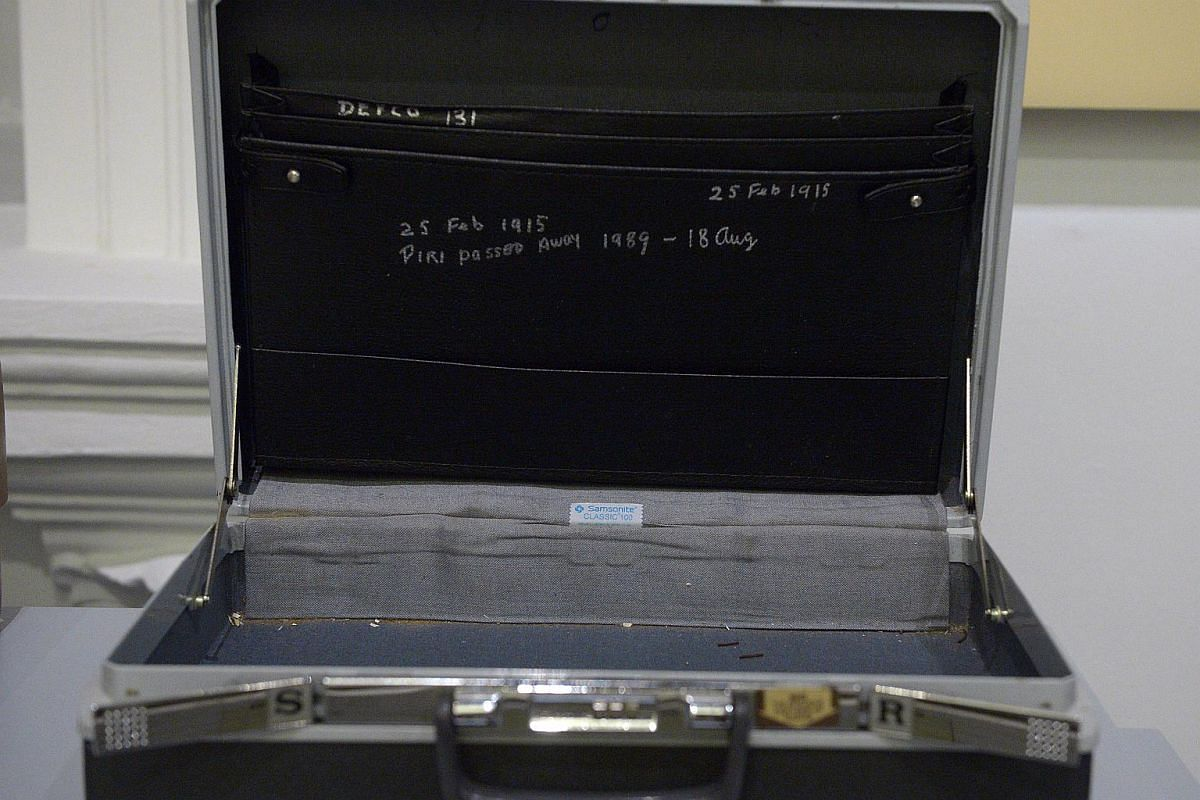 Mr S. Rajaratnam's Samsonite leather briefcase in the 1960s. He suffered from dementia in his later years and inscribed the date of his wife's death on the inside of the briefcase.