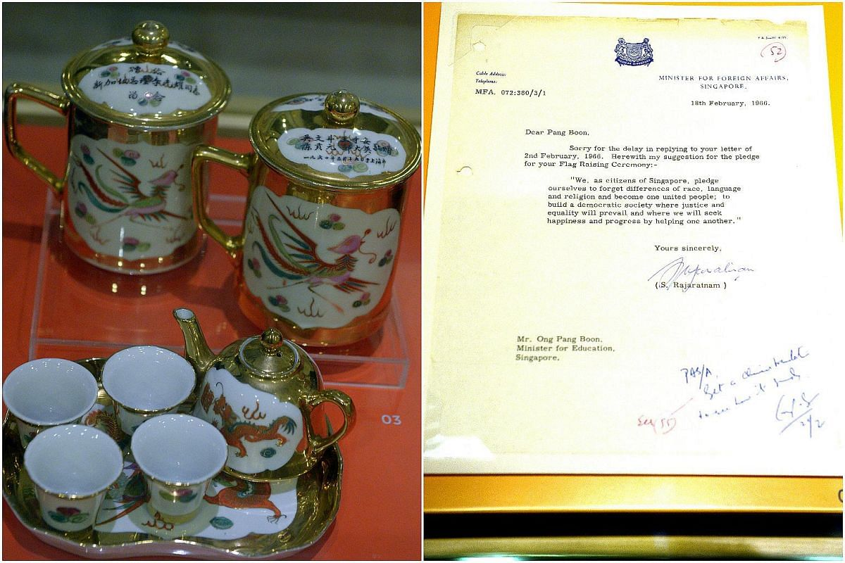 Chinese tea sets with phoenix, dragon and double happiness motifs (1960, left) which were a gift to Mr Lee Kuan Yew from former leftist PAP members and radical trade union leaders. Letter from Mr S. Rajaratnam to former Education Minister Ong Pang Bo