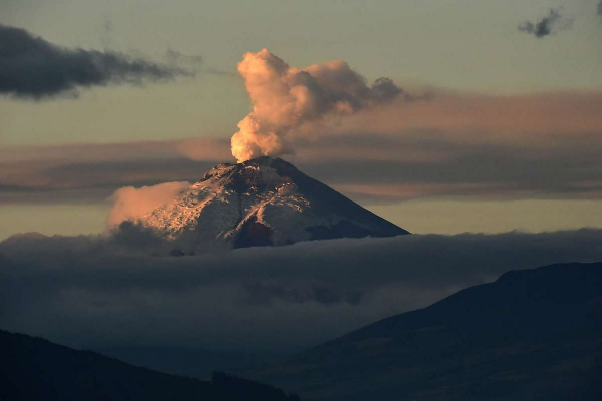 The Cotopaxi volcano spewing ash on Sept 21, 2015. The volcanic activity of the Cotopaxi began on Aug 14 after 138 years of silence.