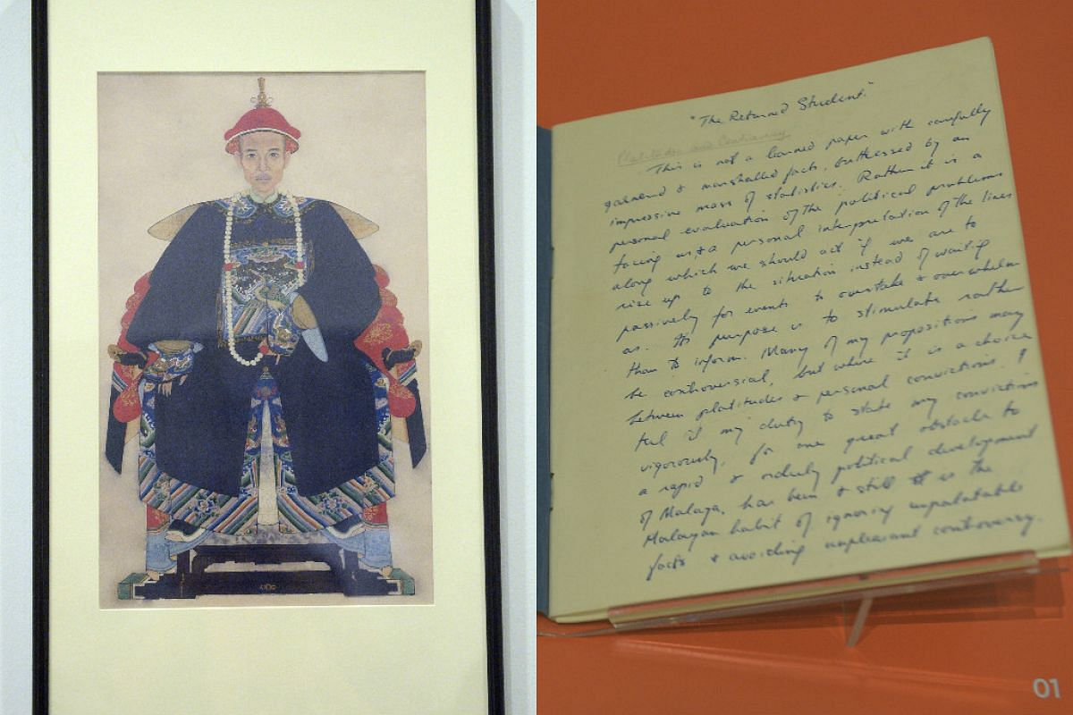 Portrait of Mr Lee Kuan Yew's great grandfather Mr Lee Bok Boon in the robes of a Grade 7 Qing official (left). Mr Lee Kuan Yew's century notebook, titled The Returned Scholar (right).