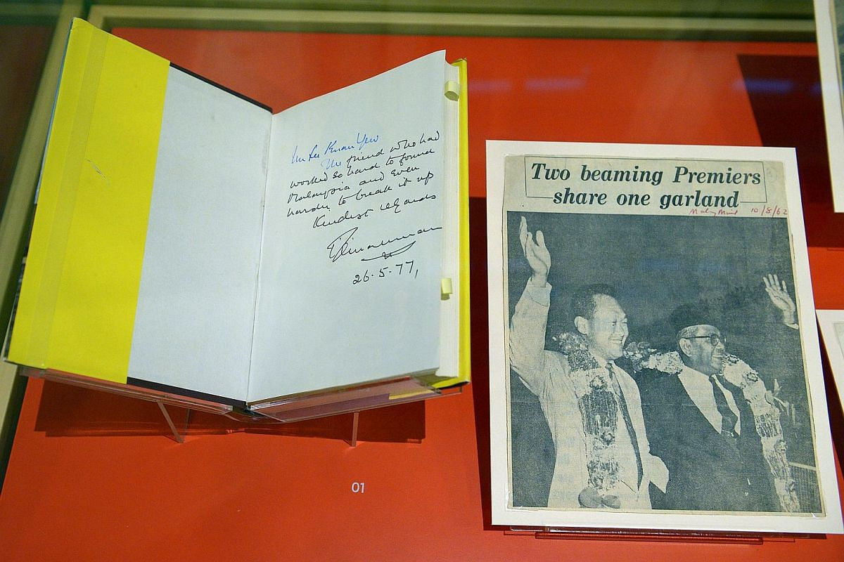 Looking back by Tunku Abdul Rahman Putra in 1977. This copy of the Tunku's memoirs, Monday Musings And Memories, was presented to Prime Minister Lee Kuan Yew in 1977.