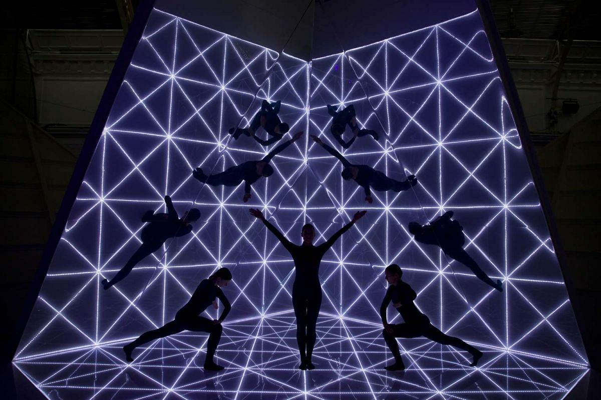 Dancers perform following the Anya Hindmarch 2016 Spring / Summer collection show at London Fashion Week in London on September 22, 2015.