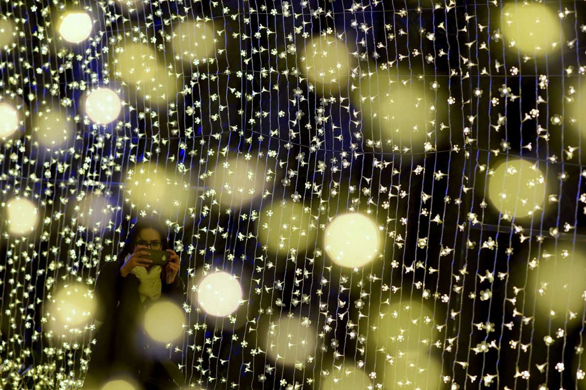 A visitor takes a picture of a light installation during a preview of the 2015 NightFest Festival in Canberra, Australia on 22 September 2015. The NightFest is part of the annual Floriade flower festival and runs from 23 to 27 September.