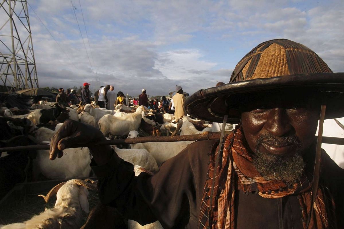 A seller standing near his sheep at a sheep market two days ahead of Eid al-Adha, in Port Bouet, Abidjan, Ivory Coast on Sept 22, 2015.