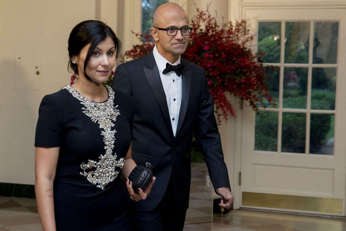 Microsoft CEO Satya Nadella with his wife Anupama Nadella.