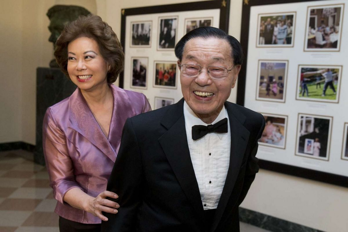 Ms Elaine Chao, the former US secretary of labour, and her father James Chao.