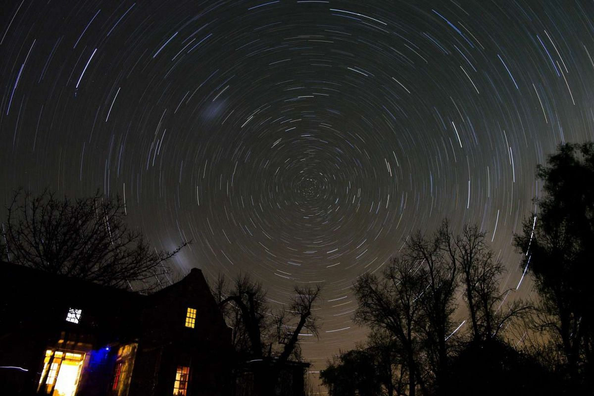 A long exposure image shows star trails on a cold winter night above the farmhouse of Woodford Truffle farm, Groenfontein, in the Koue Bokkeveld, South Africa. Woodford Truffles is the first commercially viable truffle farm in South Africa.