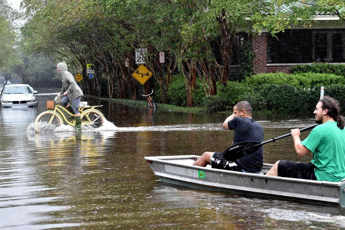 Boats became another means of transport when floods hit Charleston, South Carolina, on Oct 4, 2015.