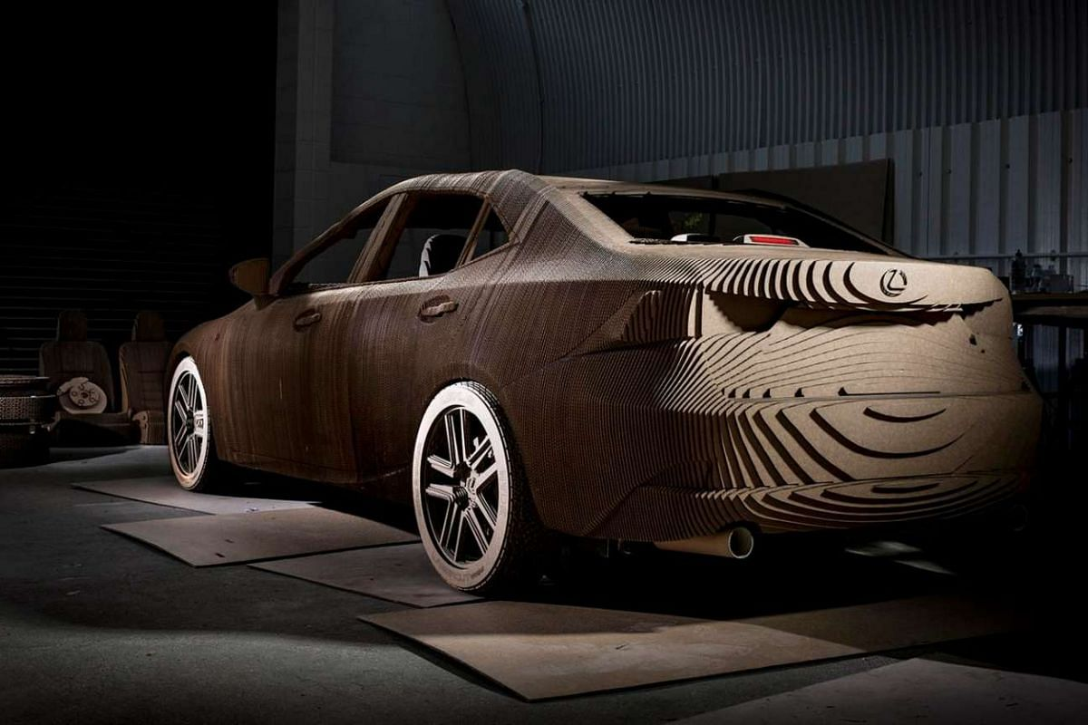 A glimpse of the Lexus cardboard car's interior.