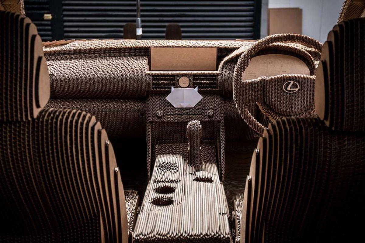 A glimpse of the Lexus cardboard car's interior.