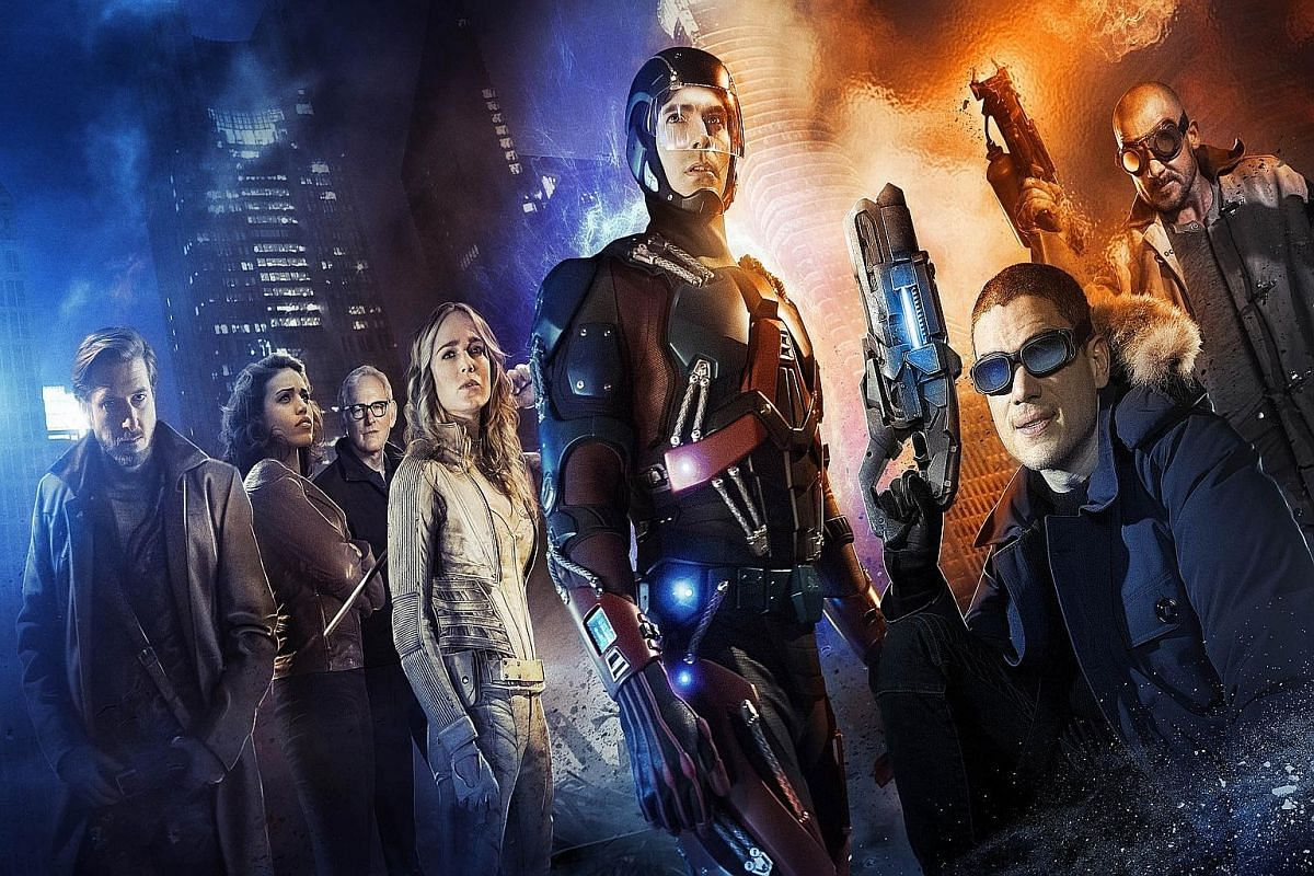 DC's Legends Of Tomorrow stars (from left) Ciara Renee as Hawkgirl, Victor Garber as Dr Martin Stein, Caity Lotz as Sara Lance/ Black Canary, Brandon Routh as Ray Palmer/ The Atom, Wentworth Miller as Leonard Snart/Captain Cold and Dominic Purcell as Mick