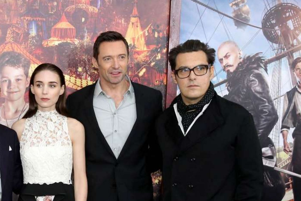 The stars of Pan (from left) Rooney Mara and Hugh Jackman and director Joe Wright at the film's premiere in New York City.