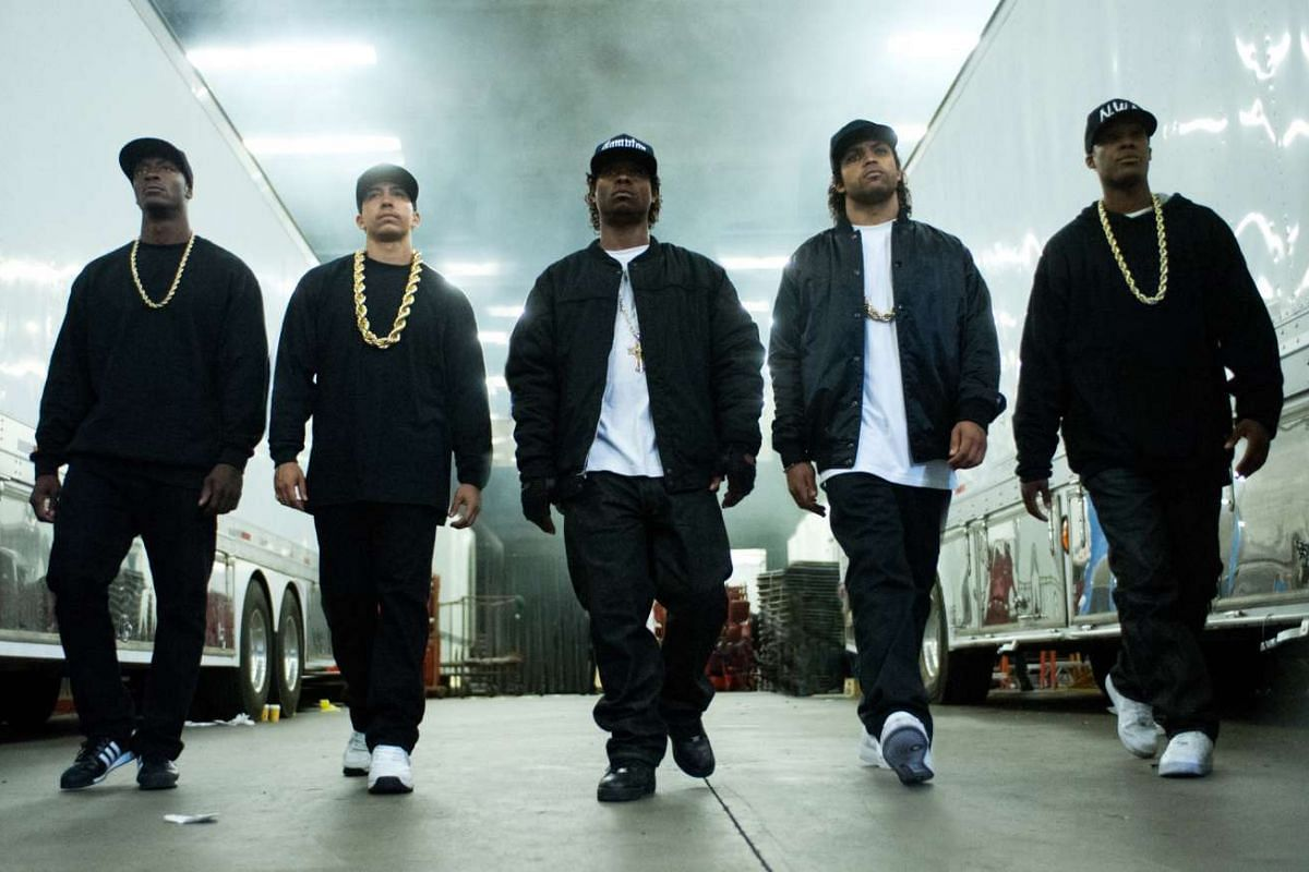 (from left) Aldis Hodge, Neil Brown Jr, Jason Mitchell, O'Shea Jackson Jr and Hawkins. star in Straight Outta Compton.