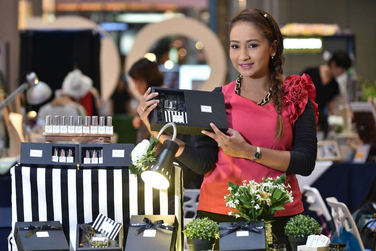 Freda D Parfum's perfume designer Faridah Yusuf, 31, a former air stewardess, says she decided to try selling perfume as a business after getting encouragement from her fiance and flight passengers, who complimented her on the self-made perfumes she