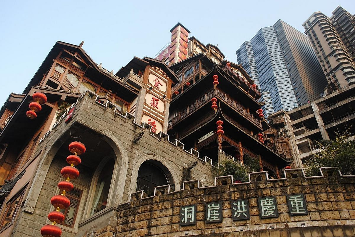 Hongya Cave is a multi-storied maze of restaurants, bars and souvenir shops carved into a cliffside.