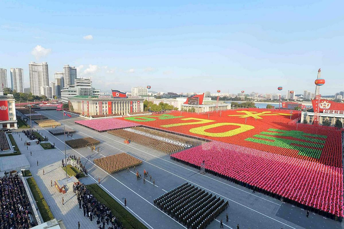 The North Korean military participates in the celebration of the 70th anniversary of the founding of the ruling Workers' Party of Korea, in this undated photograph released by the country's Korean Central News Agency  in Pyongyang on Oct 12, 2015.