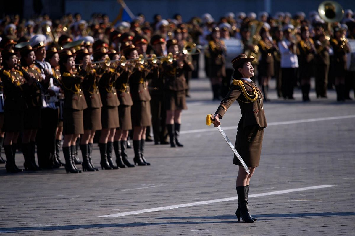North Korean soldiers participating in a mass military parade at Kim Il Sung Square in Pyongyang on Oct 10, 2015.