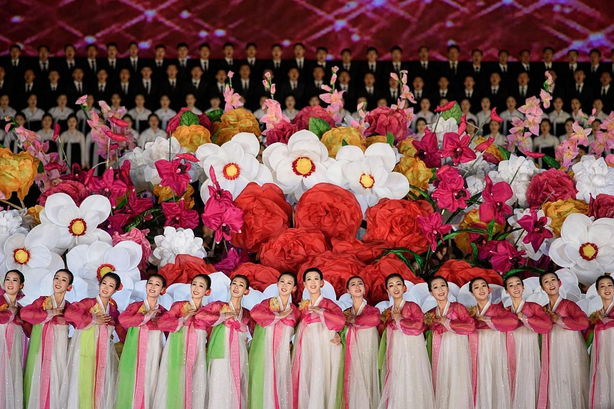 Participants performing at an open air dance and music performance by the Taedong river in Pyongyang on Oct 11, 2015.