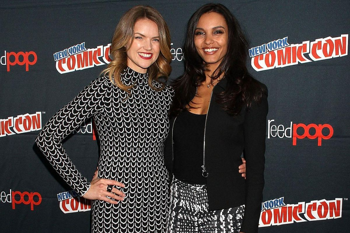 Erin Richards and Jessica Lucas of Gotham at the New York Comic Con 2015 - Day 4 at The Jacob K. Javits Convention Center on Oct 11, 2015, in New York City.