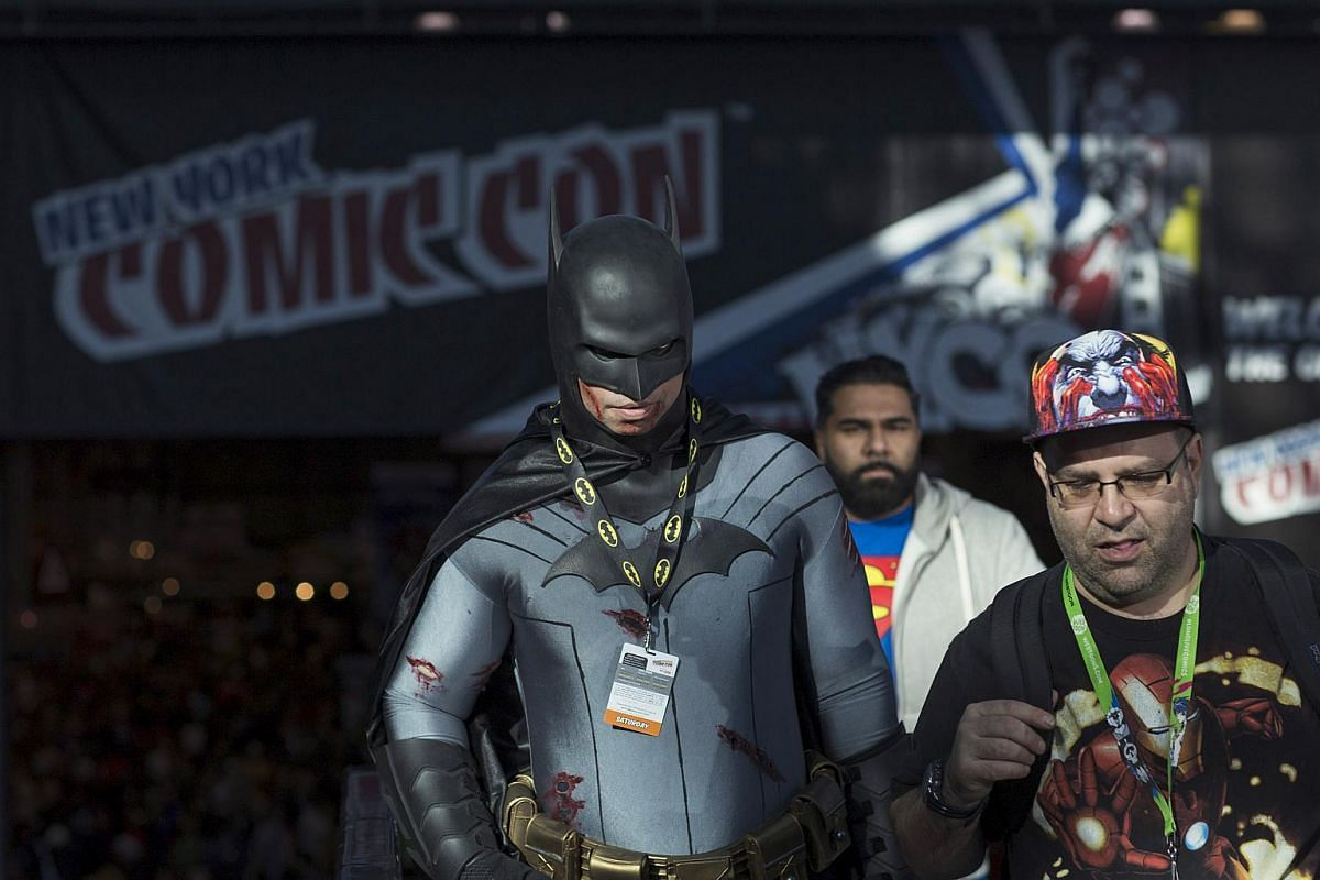 New York Comic Con attendees walking through the convention centre on Day 3 of the event in Manhattan, New York, on Oct 10, 2015.