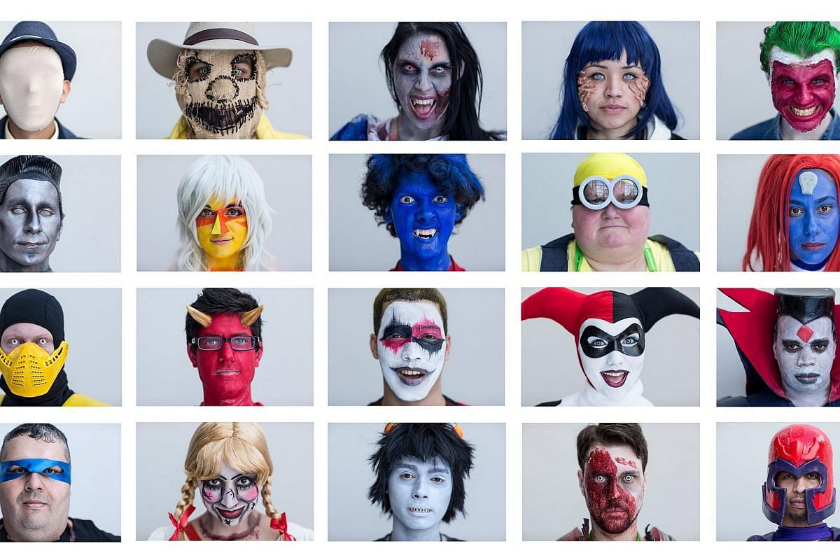 Faces of various people who came dressed up for the New York Comic Con in Manhattan, New York, on Oct 8, 2015.
