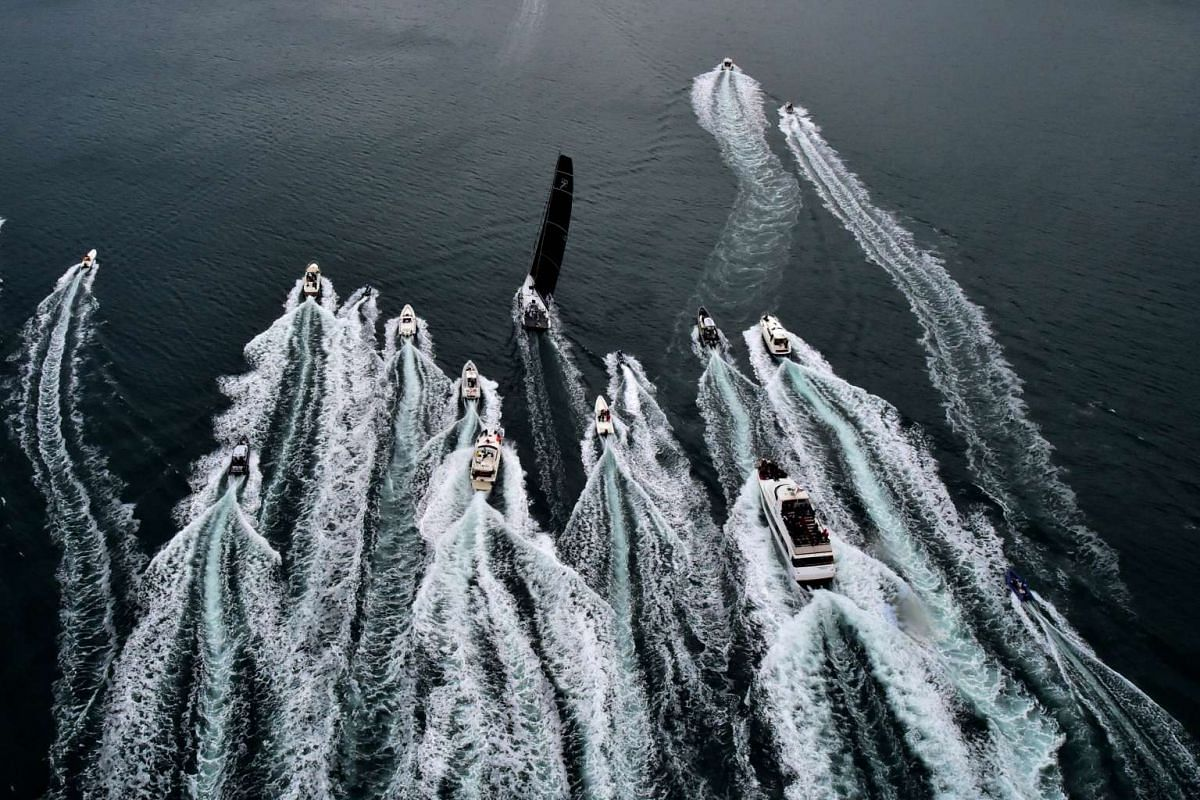 The sailing boat Roberta III sailing in for the win at the 47th Barcolana regatta in the Gulf of Trieste on Oct 11, 2015. More than 1,600 boats are taking part in the regatta.