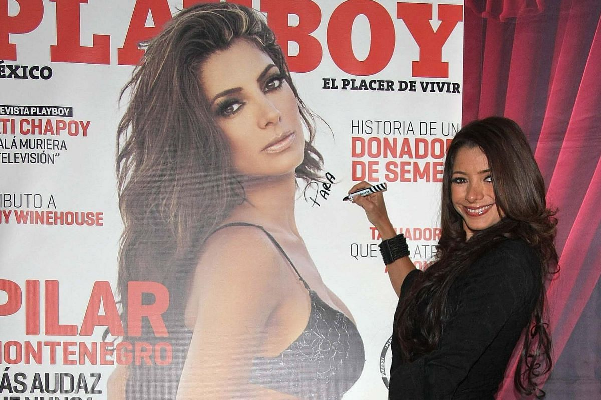 Mexican singer and actress Pilar Montenegro presenting her Playboy cover in this file photo.