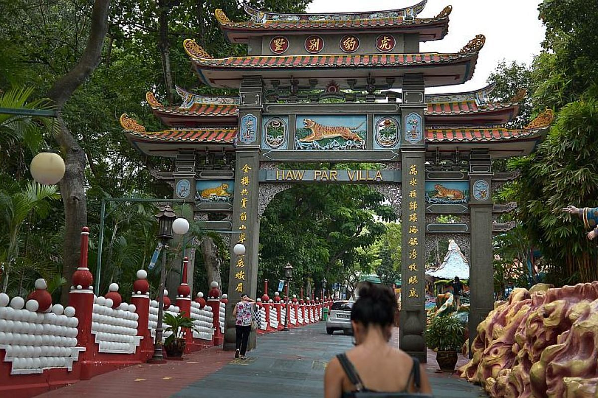 A gate at the entrance of Haw Par Villa. The 1937 Asian theme park is home to statues and dioramas depicting Chinese legends and folklore.