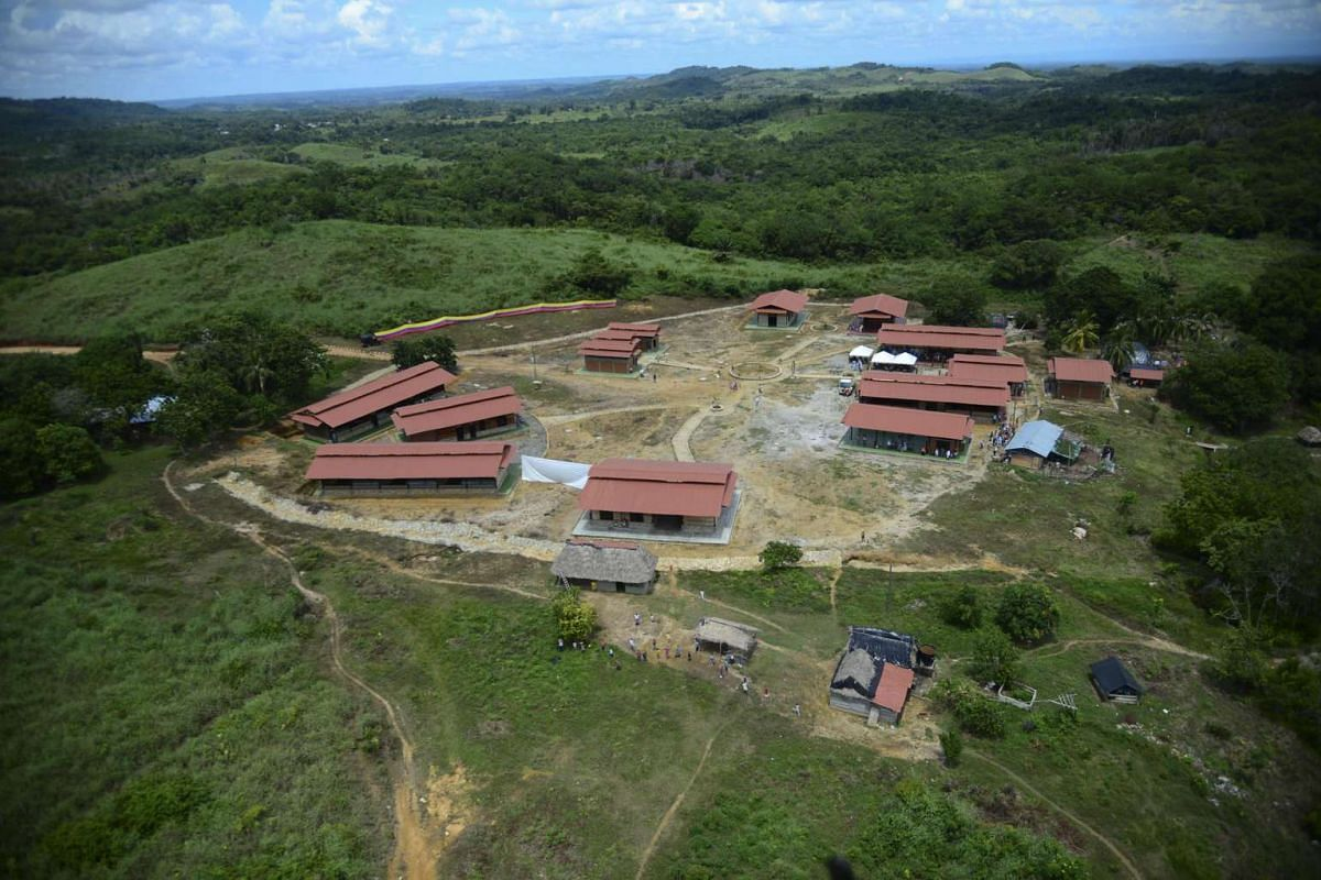 The new indigenous village Vegas de Segovia, in Zaragoza municipality, Antioquia department, Colombia, on Oct 15, 2015. The town, built by the Colombian army for 140 indigenous families of the ethnic group Senu who have been affected by the armed con