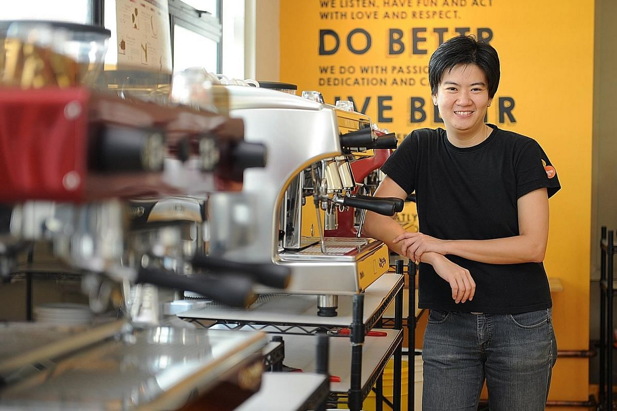Mr Jervis Tan (above) of Kinsmen Coffee and Ms Pamela Chng (right) of Bettr Barista Coffee Academy run coffee- making classes using barista machines. Mr Andrew Hoi has spared no expense pursuing his love of coffee, including buying a coffee-making ma