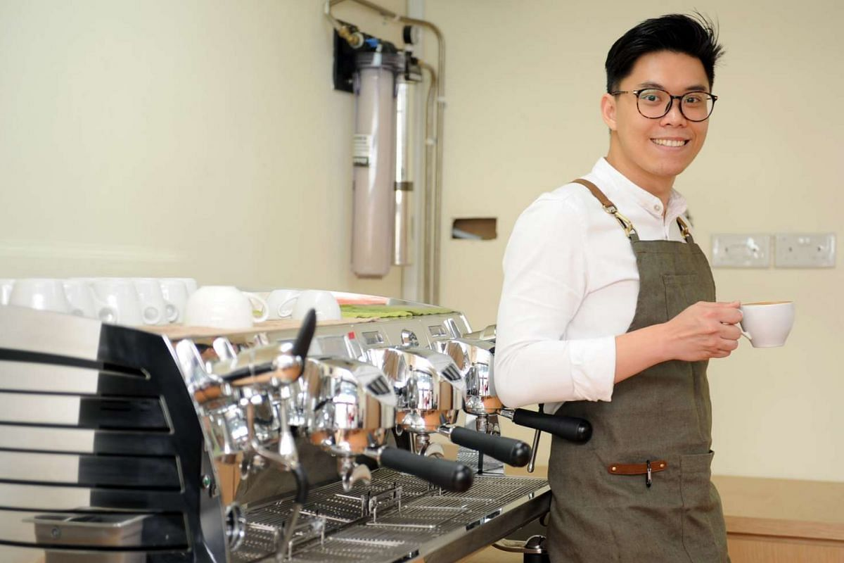 Mr Jervis Tan (above) of Kinsmen Coffee and Ms Pamela Chng of Bettr Barista Coffee Academy run coffee making classes using barista machines.