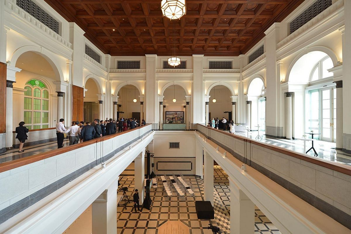 Guests getting a look at the refurbished Supreme Court wing of the National Gallery Singapore on Jan 22, 2015.