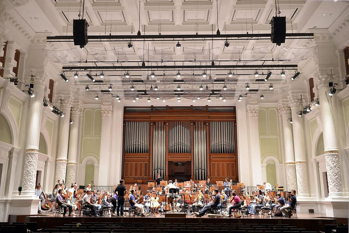 The Singapore Symphony Orchestra rehearsing at the refurbished Victoria Concert Hall.