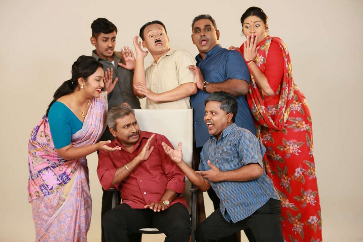 The cast of Papon in concert Adukku Veetu Annasamy, a popular 1960s radio play series which has been adapted for the stage.